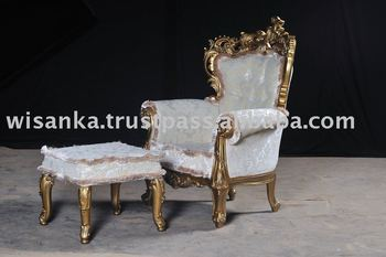 Gold Gilded Classic Sofa and Pouf