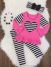 heart applique casual cotton winter baby clothes