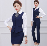 Custom Fashiionable New Arrival Business White-collar Blue Skirt and Vest Skirt Suits Wholesale