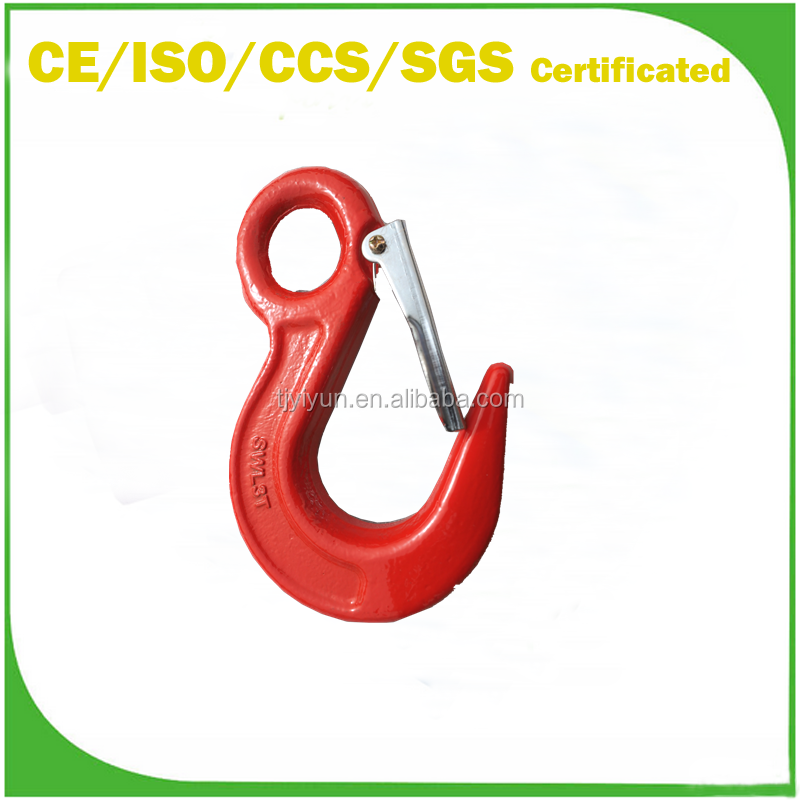 G80 heavy duty eye drop forged alloy steel hook with best quality and with safety latch