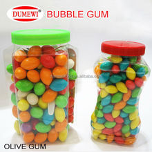 olive shape candy in bottle tutti-frutti bubble gum