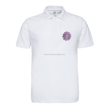 Cheap custom white embroidery poly/cotton polo t shirt for promotion