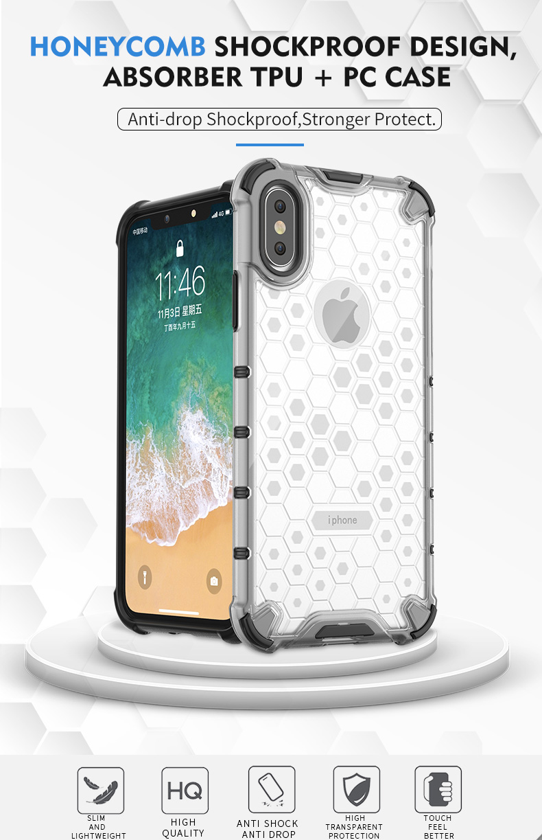Honeycomb anti shock tpu pc clear phone case for iphone xs transparent case