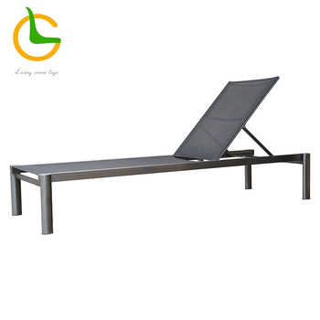 All weather black stainless steel frame patio lounge chairs