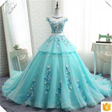 Real Picture Wedding Gown New Arrival Tiered Puffy Wedding Dress Top Beaded Colorful Tulle Ball Gown Sky Blue Wedding Dress