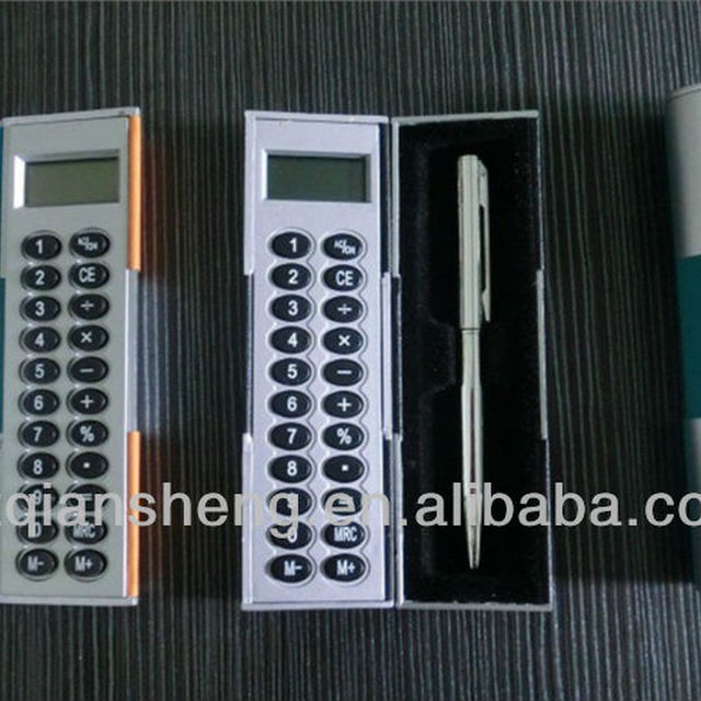 mini magic box calculator with ball pen,handheld calculator,gift calculator