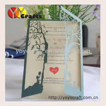 Super beautiful arabic wedding decoration weddding favor laser cut love tree wedding invitation cards