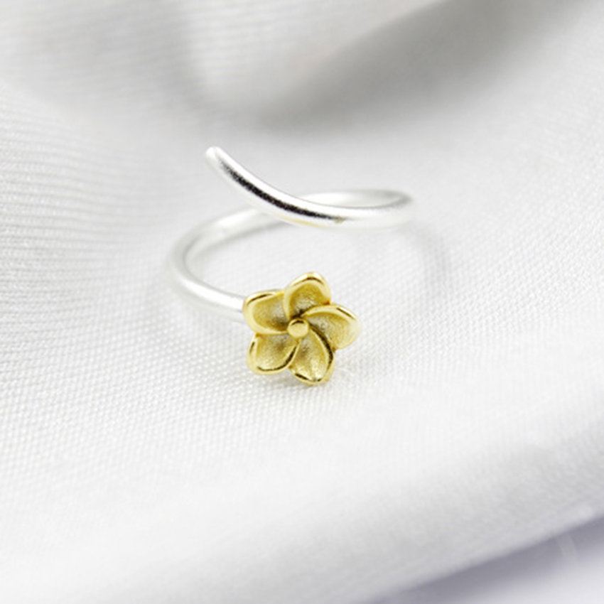 Charm Girls Wedding Jewelry Beautiful Gold Flower Vintage Silver Open Ring Plain Women Ring Adjustable