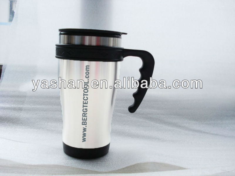 Promotion gift 16 Ounce Double Wall Stainless Steel Travel Mug With Plastic Handle Easy To Carry 450ml