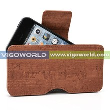 "Wooden pattern PU smartphone pouch fit for 4-5 "" cell phones"