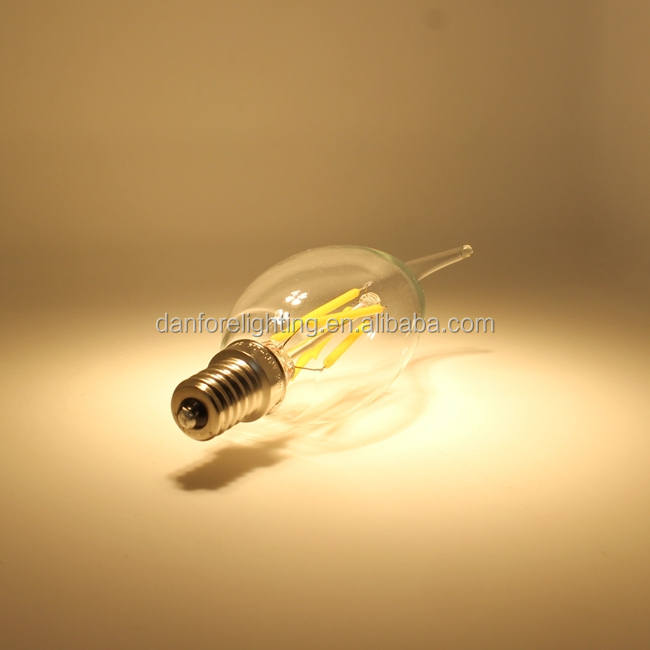2W 4W E14 E12 B15 C35 Antique Dimmable Filament LED candle light