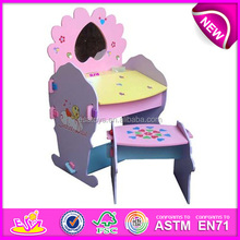 Lovely student table and chair for kids,wooden toy wood dressing table for children,cute wood dressing table for baby wj278380