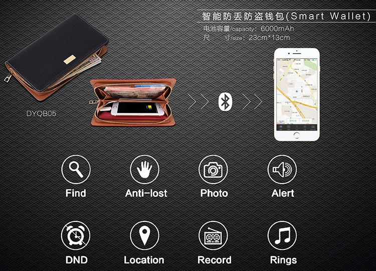 Fashion New design GPS Smart Portable Bluetooth Tracking Alarm Genuine Leather Mens Wallet