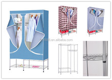 Home Furniture Cheap 19mm Double Metal Portable Fabric Closet Carrefour