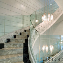 starphire glass curved laminated glass 13.52mm handrail glass with polish edge