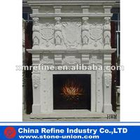 Double-deck marble carving gas fireplace
