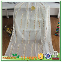 Wholesale different designs embroidery voile sheer curtain fabric for home decor