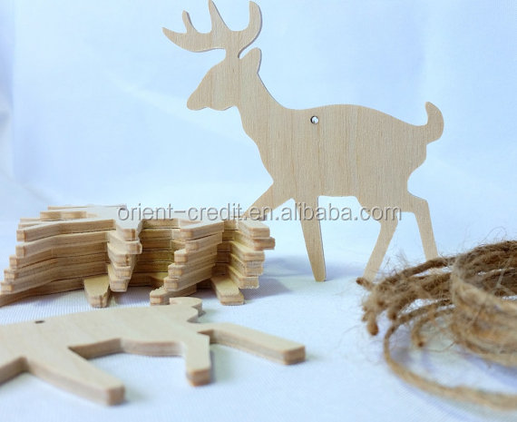 Deer shaped wooden ornaments Christmas Ornaments