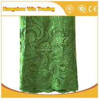 2016 Attractive design green wedding dresses bridal lace fabrics italy with rhinestones