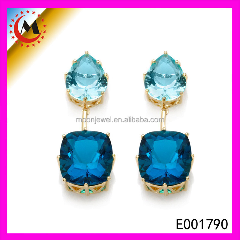 CHARM COSTUME JEWELRY CHEAP CRYSTAL CHANDELIERS NATURAL BLUE SAPPHIRE EARRINGS