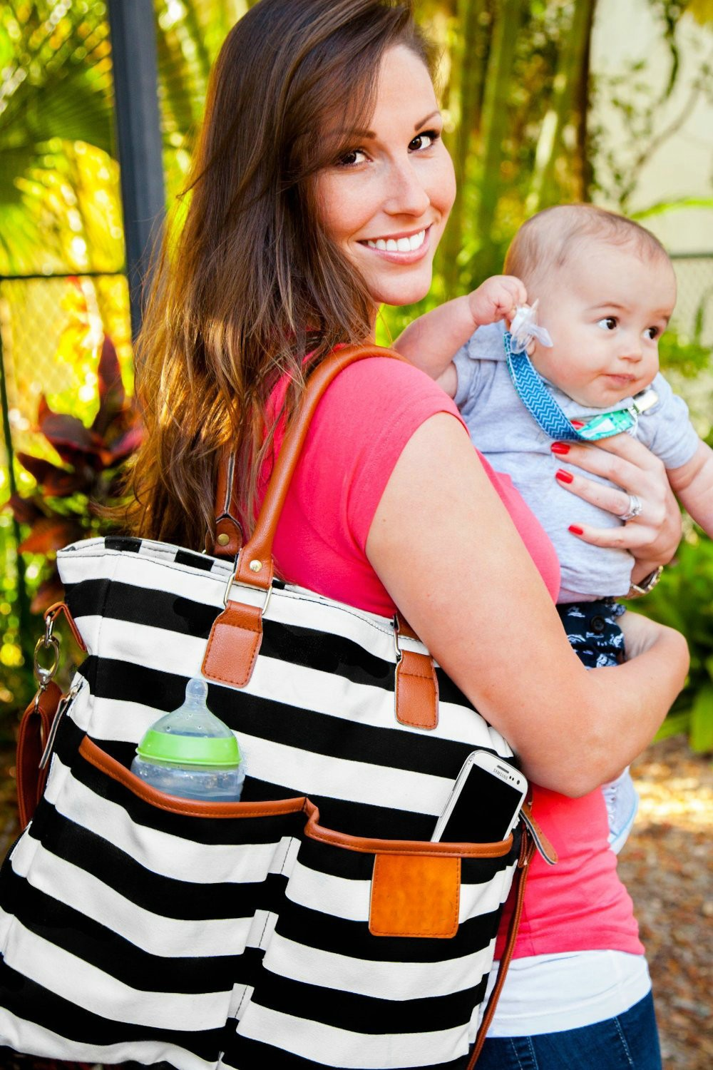 Diaper Bag for Stylish Moms, Black/White, Premium Cotton Canvas Tote Bag, 13 pockets Including Insulated Bottle