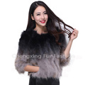 CX-G-A-01B Patchwork Fashion Women Jacket Real Raccoon Fur Coat