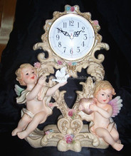 Resin Baby Angel Clock, Polyresin Angel Figure, Cartoon Angel Baby