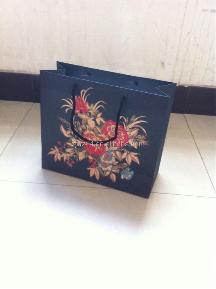 2015 fashion recycled paper bags for clothes/ boutique kraft paper bag/ reusable folding shopping bag