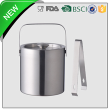 large metal ice bucket with stand