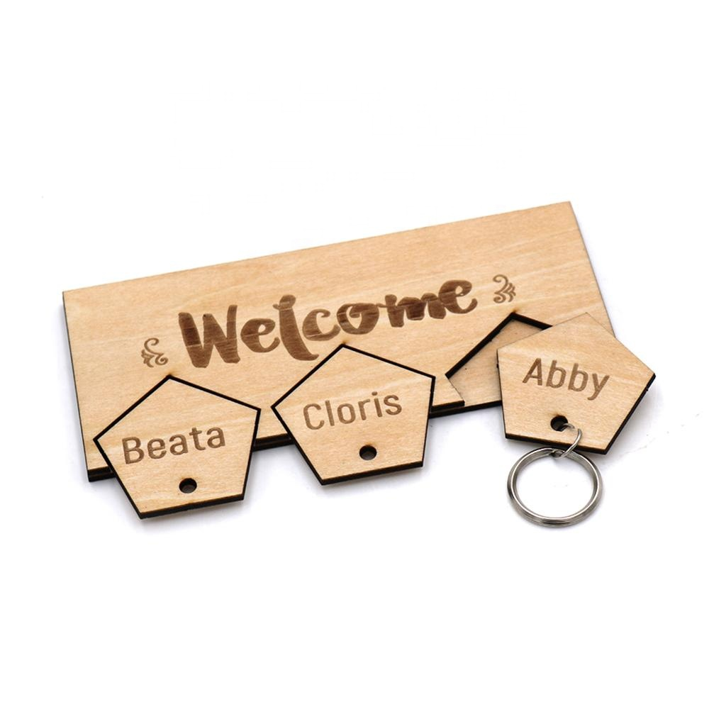wood key holder for each member of families