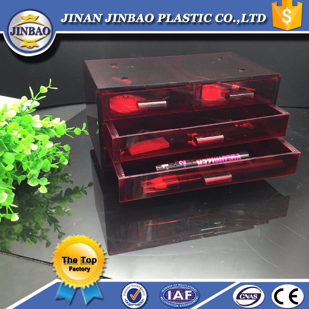 JINBAO China factory waterproof red acrylic cosmetic display case