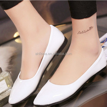 F20026H Wholesale solid color women flat shoes new model comfortable pointed women PU shoes