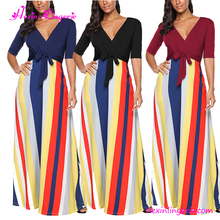 Wholesale V-neck Plus Size Maxi Bowknot Striped Print Casual Ladies Sexy Fat Women Dresses