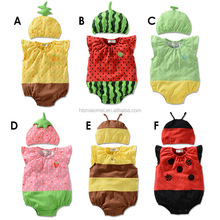 2016 summer design cutting unisex fruit and bee baby romper 100% cotton sleeveless romper bodysuit wholesale