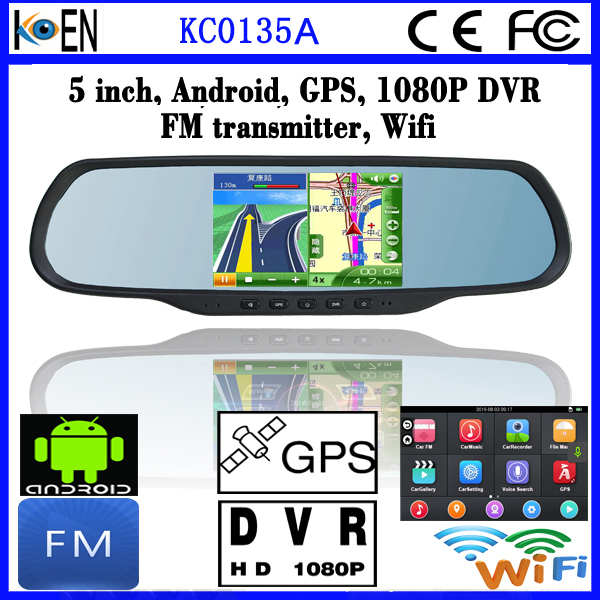 GPS Navigation System Rearview Mirror With 5.0 Inch Touch Screen Android DVR