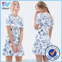 Yihao women fashion dress sexy girls photo women best quality full print flowers women thai silk evening dress wholesale