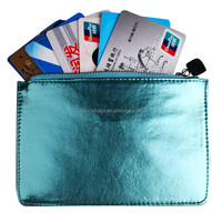 Colorful Metallic Leather Cases ID Card Holder Wallet for Women