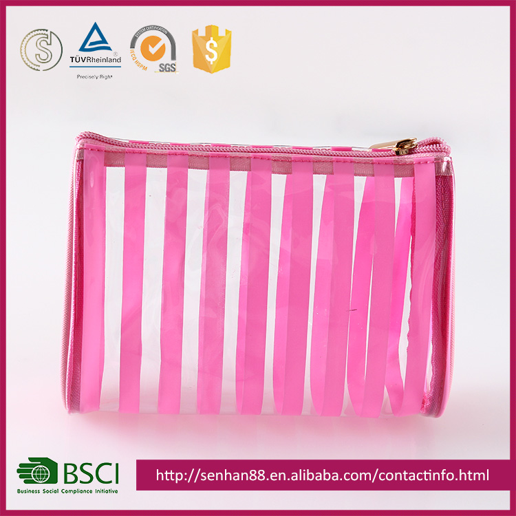 Wholesale Custom pink Support Custom colors stripe PVC promotional personal makeup pvc transparent cosmetic bag