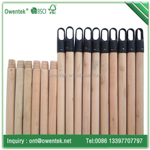 Polished natural wooden handle threaded for floor cleaning