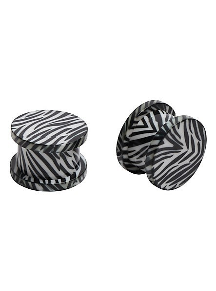Body Piercing Jewelry Acrylic Zebra Print Spool Plug Ear Plug Wholesales