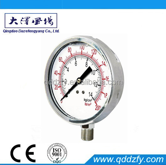 Bourdon tube stainless steel case pressure gauge