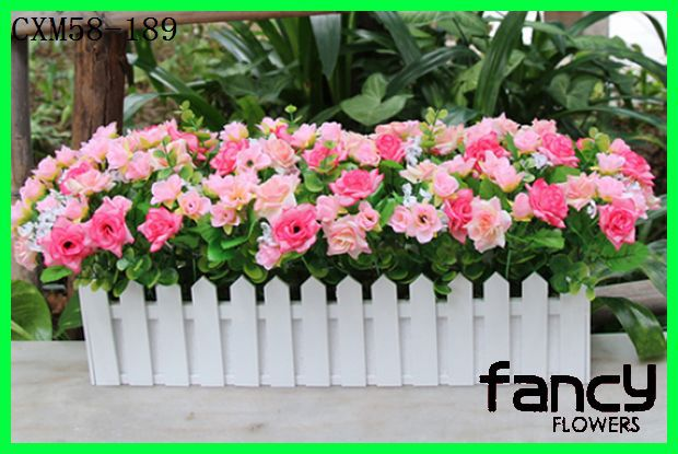 Table & Home decor,mini fake red roses and 50cm wooden fence ,beautiful pink rose arrangements for sale