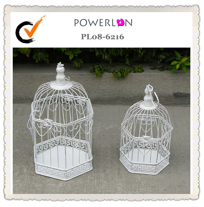 White Hexagon Wedding Birdcage Decorative Bird Cage Centrepiece Shabby Chic