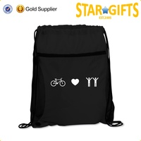 high quality thick double strings black drawstring bag with zipper front pocket