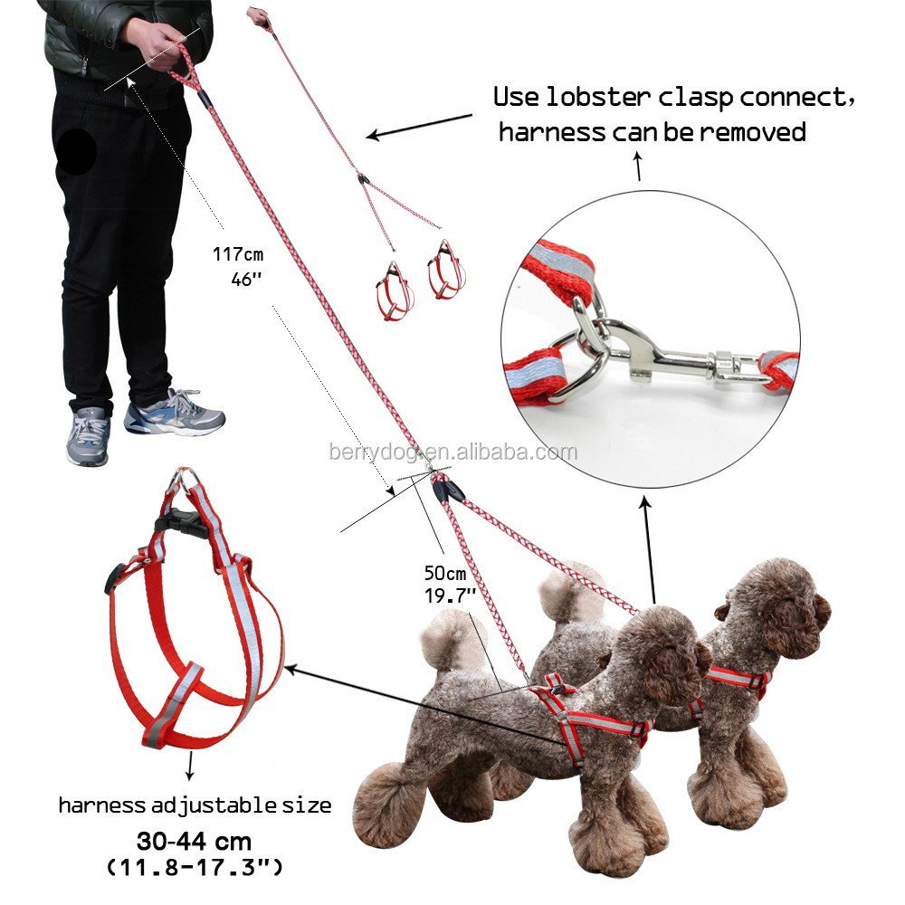 Reflective Coupler Nylon Dog Strap Harness & Lead Set for 2 Dogs