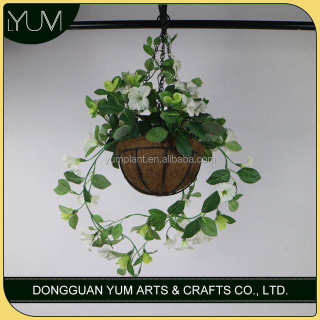 artificial haning white morning glory flowers arranged in fiber basket