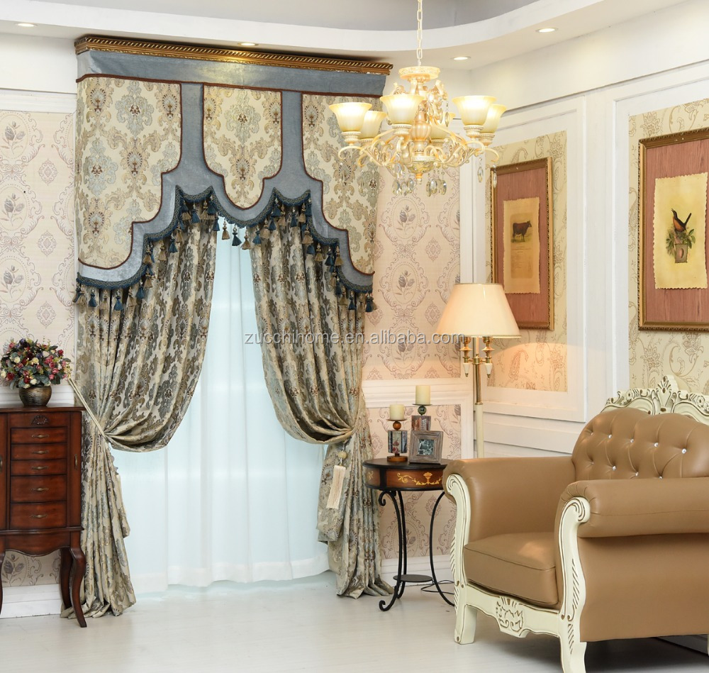 New luxury American style curtain design polyester fabric Jacquard curtain for home living room