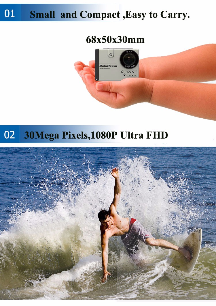 "Full hd 1080p 30M waterproof 2.0"" LCD action camcorder reviews with Built-in WIFI"