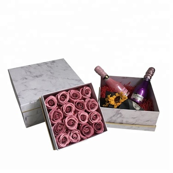 Custom LOGO marble paper design square flower packing box
