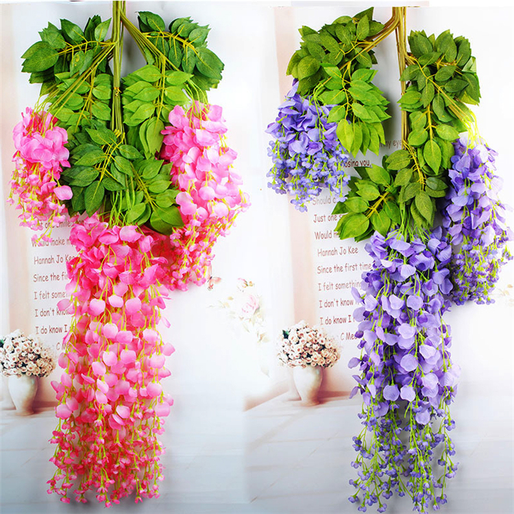 Romantic artificial silk wisteria hanging flowers for wedding